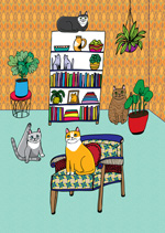 greeting card for a cat lover with cats in the lounge room doing different things one is on a chair one is sitting with its leg up one is up high on a bookshelf and one is hiding behind a plant cute cat illustration