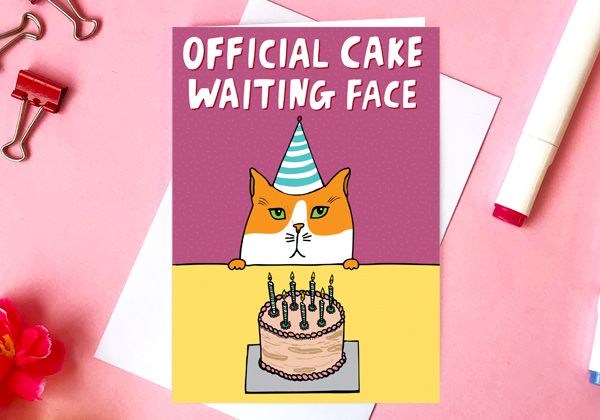birthday card for a cat lover official cake waiting face greeting card by able and game