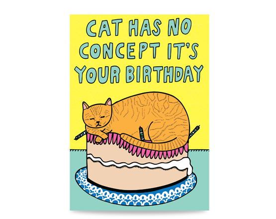 Birthday card with a cat sleeping on a birthday cake. The text reads: Cat has no concept it's your birthday. Birthday card for cat lovers
